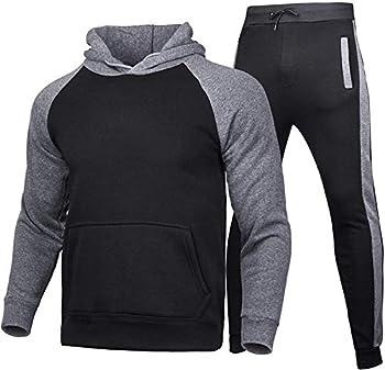 Hakjay Men s Winter Sport Wear Tracksuit Clothes Outfits Set Jogger Sport Sweatshirt+Long Sweatpants 2 Pcs  Black+Dark gray L