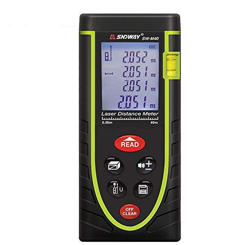 Medidor de distancia con telémetro láser avanzado 40M (rango 0.05~40m / ± 2 mm con retroiluminación de LCD, polvo y agua pulverizada IP 54)