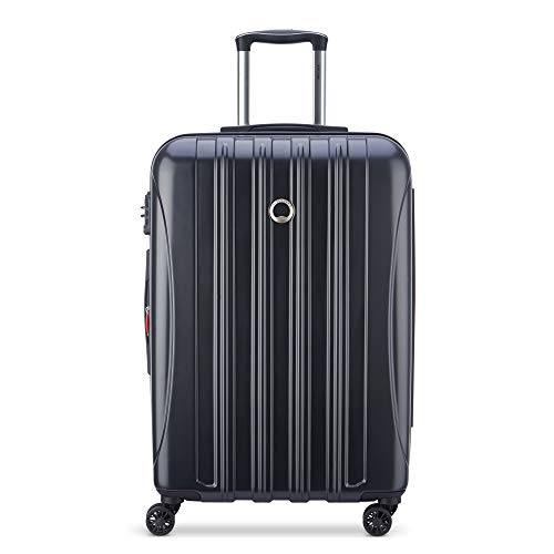 DELSEY Paris Helium Aero Hardside Expandable Luggage with Spinner Wheels, Matte Black, Checked-Medium 25 Inch