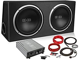 Belva 1200 watt Complete Subwoofer Package Includes Two (2) 12-inch Subwoofers in Ported Box, Monoblock Amplifier, Amp Wire Kit [BPKG212v2]
