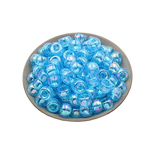 TTCI-RR Abalorios Cuentas Redondas de Color de plástico de 500 unids. Bricolaje Ropa de Accesorios de joyería Material Perlas Sueltas Agujero Grande Barril Beads DIY (Color : Blue)