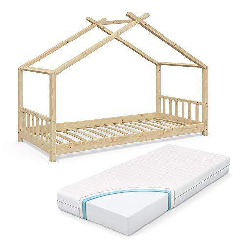 VitaliSpa Design Kinderbett Hausbett Kinderhaus Bett Massivholz Holz Holzbett Kinder 90x200cm Natur