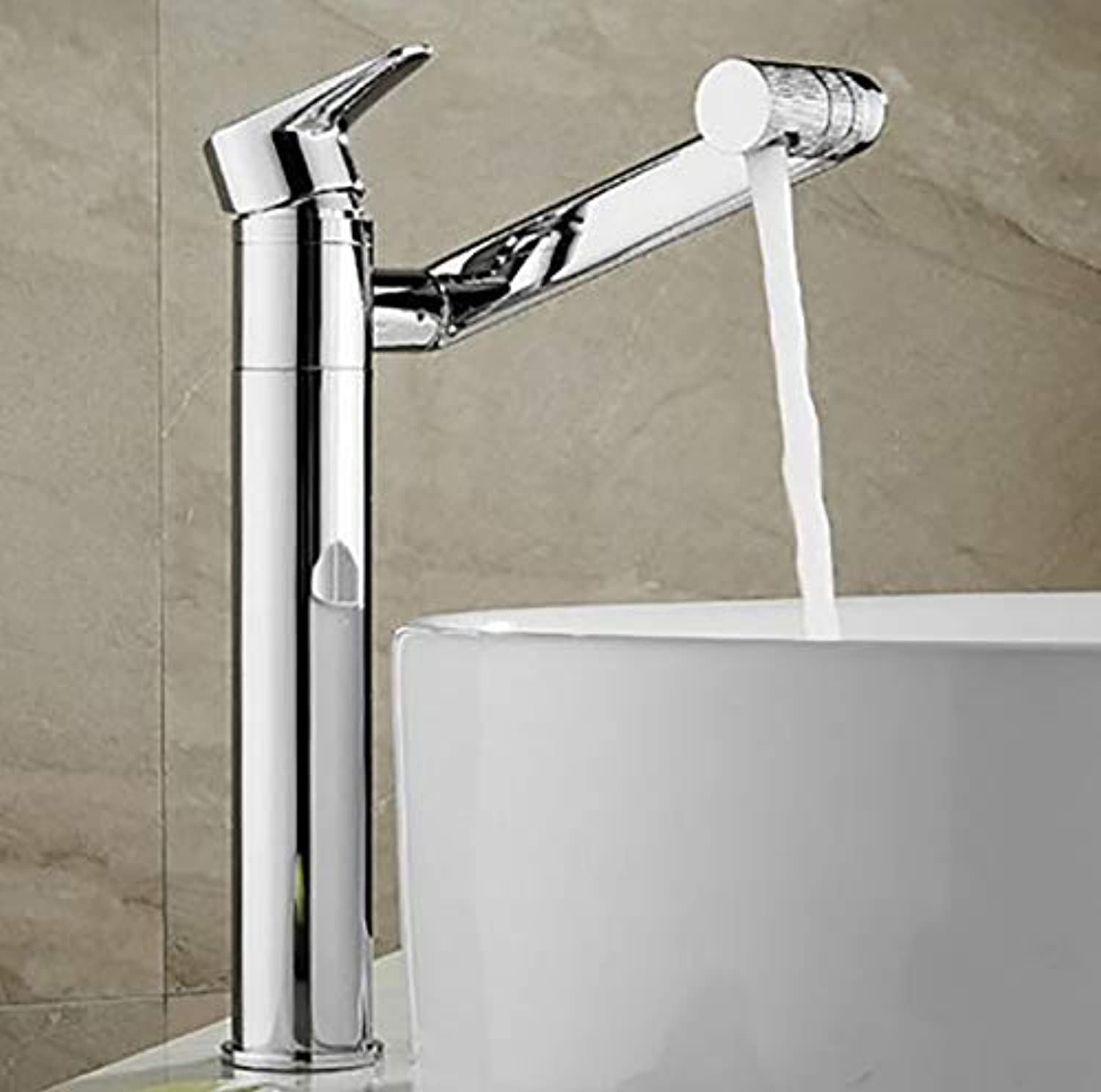 WYRSXPY Basin Tap Desktop Basin Faucet, redatable Bathroom Kitchen Hot And Cold Water Tap, All Copper Material, Single Hole Inssizetion (color   Silver, Size   High)