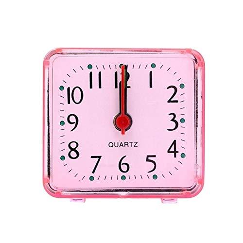 HUIJUNWENTI Netter Wecker Analog Wecker Quadrat klein Bett Compact Uhr Desktop-Dekor Clock Studenten Schlafzimmer elektronischer Wecker (Color : 02)