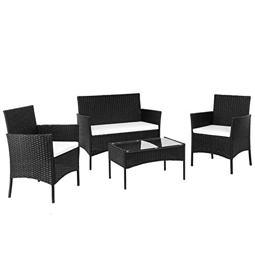 Walkchic 2pcs Arm Chairs 1pc Love Seat & Tempered Glass Coffee Table Rattan Sofa Set Black