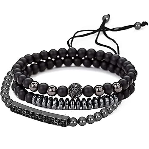 Negro esmerilado desgaste cobre incrustación zirconia larga pulsera 3pcs negro cuentas acero inoxidable pulsera brazalete joyería regalo para hombres
