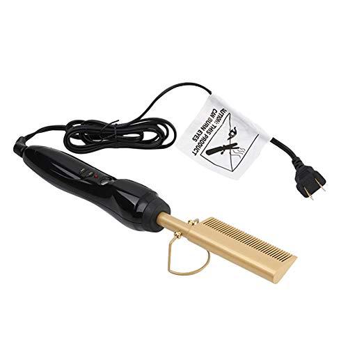 Peine alisador eléctrico para cabello africano, color negro y dorado, Rizadores Plancha Peine Alisador eléctrico caliente Aleación de titanio Rizador de pelo Peine Cuidado del cabello