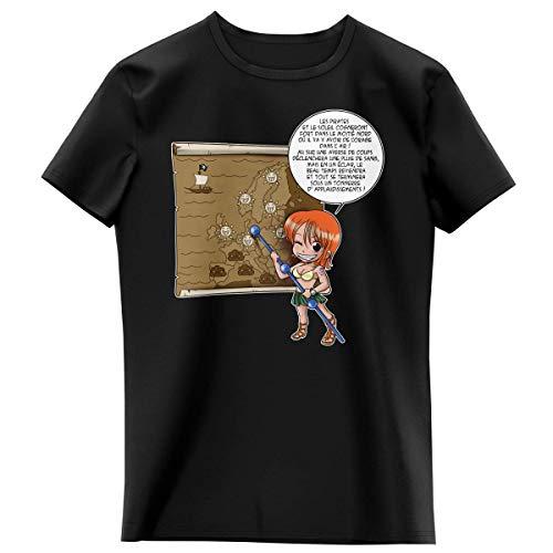 T-Shirt Enfant Fille Noir Parodie One Piece - Nami - Les prévisions de Météo Pirate pour Le Prochain épisode ! (T-Shirt Enfant de qualité Premium de Taille 13-14 Ans - imprimé en France)