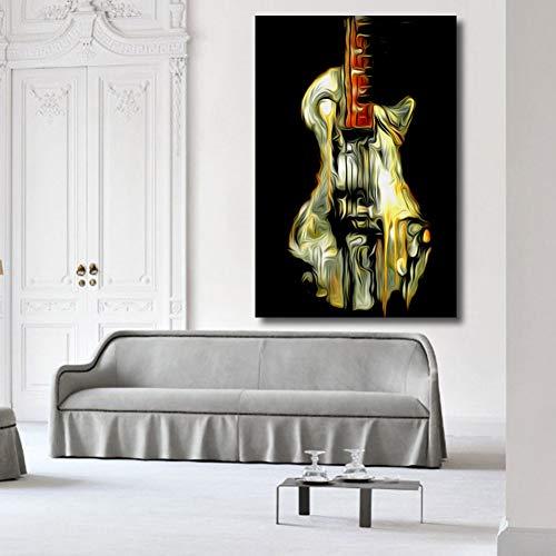 GASFG wanddecoratie stilleven frameloze gitaar olieverfschilderij drukwand poster voor woonkamer kantoor Kein Rahmen 64 x 80 cm.