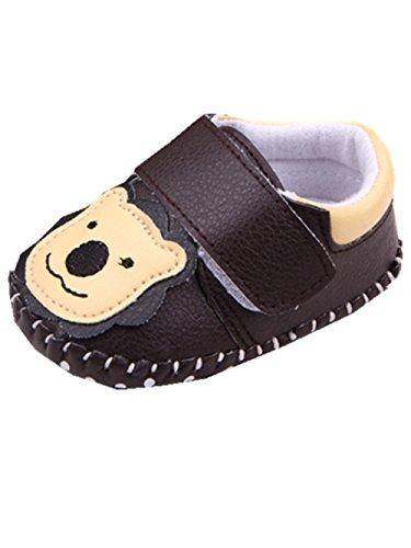 YICHUN Bébé Chaussures de Premier Pas Chausson Petit Ours Chaussures de Loisir Chaussures Souples (Longueur de Semelle:12CM, Marron Foncé)