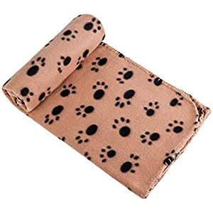 Aodaer 1 Piece Pet Blankets Dog Cat Bunny Small Animals Blanket Comfortable Warm Sleep Mat with Paw Print for Beds, Floors, Cars