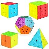 KidsPark Speed Cube Ensemble 2x2 3x3 4x4 Pyramid Pyraminx Megaminx Magic Cube, Smooth...