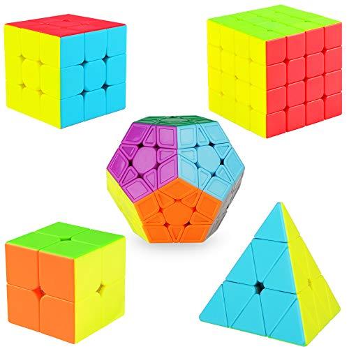 KidsPark Magic Speed Cube Set 2x2 3x3 4x4 Pyramid Pyraminx Megaminx Magic Cube, Suave sin Pegatinas 3D Magic Puzzle Cube Bundle Cubo Mágico para Niños y Adultos, Paquete de 5