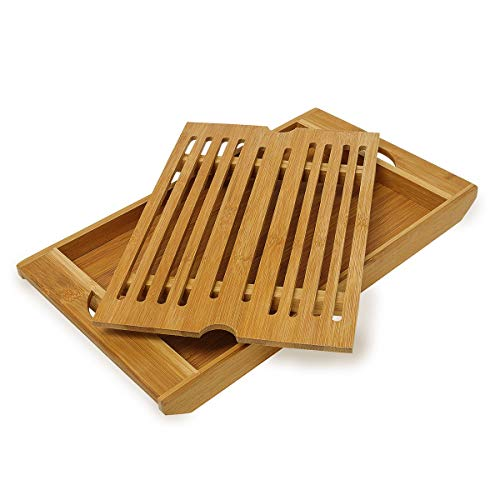 Relaxdays 10015328 Planche à pain avec compartiment ramasse miette HxlxP: 3 x 37 x 21,5 cm planche à découper planche à pain en bambou avec bac à miette amovible Plateau grille miettes, nature