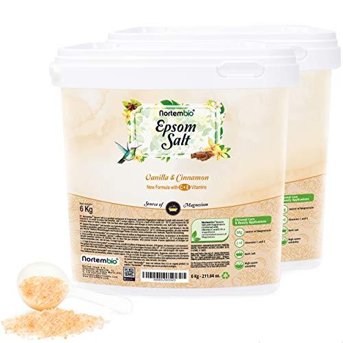 Nortembio Epsom Salz 2x6 Kg. Neuartigen Duft von Vanille und Zimt. Hydratisiert mit Vitamin C und E. Badesalz und Körperpflege. E-Book Inklusiv.