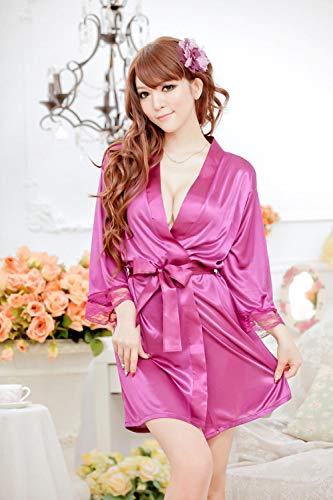 BAKND Erotische Dessous-Sets für Frauen Erotische Kostüme für Frauen Plus Size Spitze Spitze Cardigan edlen Bademantel sexy Dessous Feminine Pyjamas Fett MM ist auch geeignet-lila_one Größe