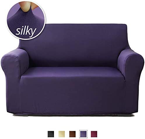Best NICEEC Loveseat Cover Silky Soft 1-Piece Purple Slipcover for loveseats Strechable Universal Couch C