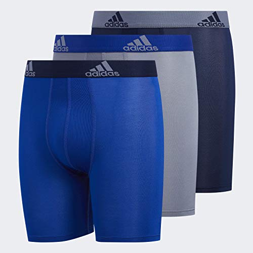 adidas Youth Kids-Boy's Performance Midway / Long Boxer Briefs Underwear (3-Pack), Collegiate Royal/Collegiate Navy Grey/Collegiate R, X-LARGE