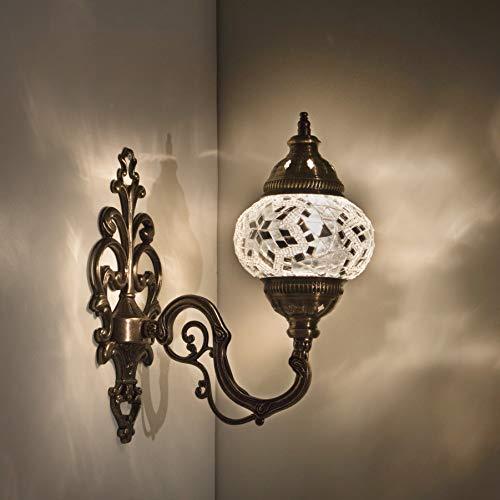 Handgefertigte Wandleuchte, Mosaik-Lampe, 2019, 41,9 cm hoch, 11,4 cm Kugel, türkisches marokkanisches Glas, arabische Laterne, Nachttisch, Heimdekoration, Hellbronze (Perlen)