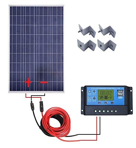 ECO-WORTHY 100 W Komplett System: 100 Watt Solarpanel + 20 A LCD Display PWM Laderegler + 16 Füße Solar Kabel Adapter + Z Halterung