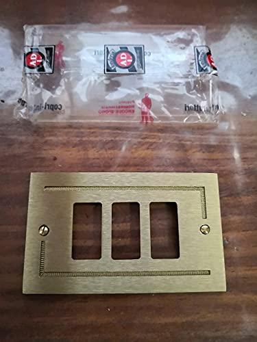 Placca ottone ADL Fonderia 3 posti/fori per Bticino Magic