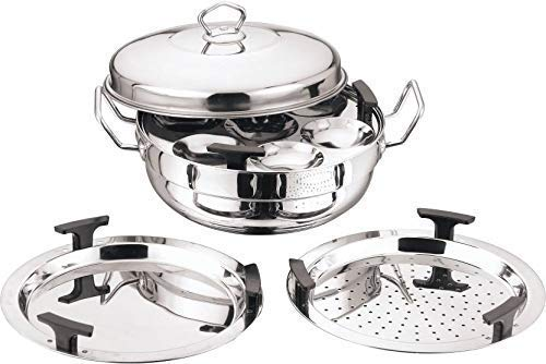 Vinod Stainless Steel 6 pcs Multi Kadai (Induction Friendly) with Stainless Steel lid, 2 idli Plates, 2 dhokla Plates and 1 patra...