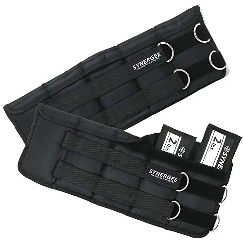 Synergee Comfort Fit 2-20lb Adjustable Ankle/Wrist Weights (Set of 2). One Size Fits All.