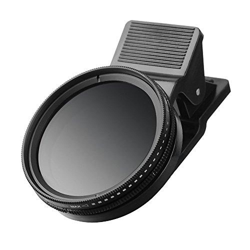 ZoMei Flycoo Professional Clip On ND 2-400 verstellbar 37 mm Neutral Dichte Filter für Handys für iPhone 6S Plus 7 Samsung Galaxy S8 Android Smartphones