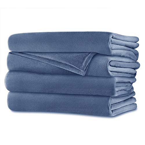 Sunbeam - Queen Size Heated Blanket Luxurious Velvet Plush with 2 Digital Controllers and Auto-off Feature - 5yr Warranty, Blue