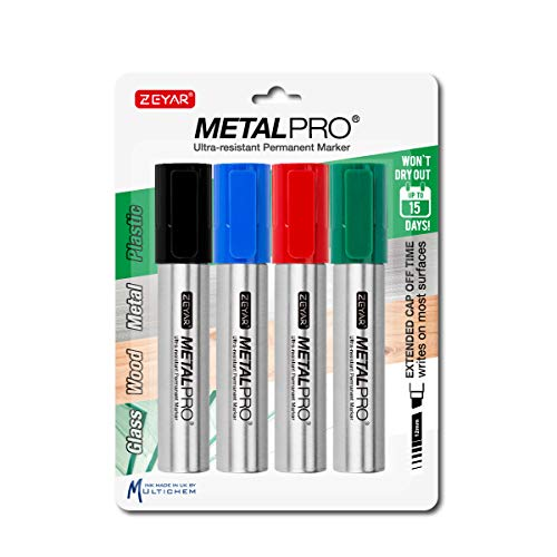 ZEYAR Permanent Markers, JUMBO Size, Set of 4, Waterproof