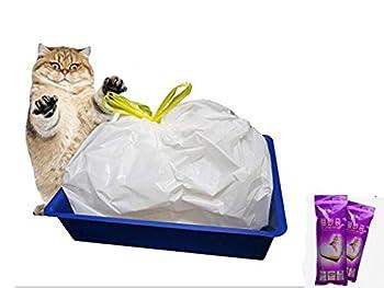 Manfâ 2 emballages de sacs (14 sacs) pour bac à litière pour chat, 8 sacs à poubelle (large 940*457mm) en cadeau.