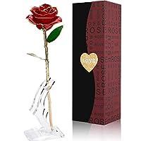 💕 Le rose più belle dell'eternità non si corrodono mai. 💕 Rosa placcato oro e rifinito con oro 24K, combinato con una confezione regalo di lusso. L'interno della vetrina è dotato di canali incassati per la rosa, ogni rosetta viene delicatamente imbal...