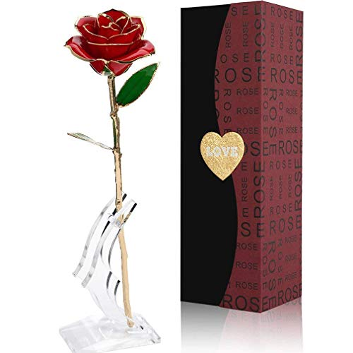 Gomyhom Rosa 24K, Rosa de Oro Chapada en Oro con Caja de Regalo para Madre para...