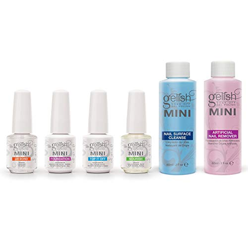 gelish nail kits Gelish MINI Complete Basix Gel Nail Polish Prep Essentials Starter Kit with Foundation, pH Bond, Top It Off, Nourish, Artificial Nail Remover & Cleanser