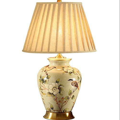 MASOSER Lampara de mesa de ceramica, lampara de mesa decorativa lujosa, interruptor de boton de la cubierta de la lampara de la tela, conveniente para el dormitorio de la sala de estar Funcionamiento