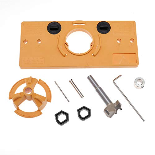 35mm Concealed Hinge Jig Hinge Drill Jig with Woodworking Drill Bits for Cabinet Door Installation