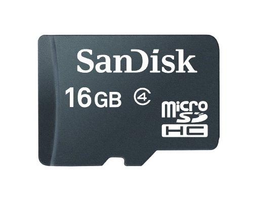 SanDisk Scheda di Memoria MicroSDHC 16 GB Classe 4 [Imballaggio apertura facile di Amazon]