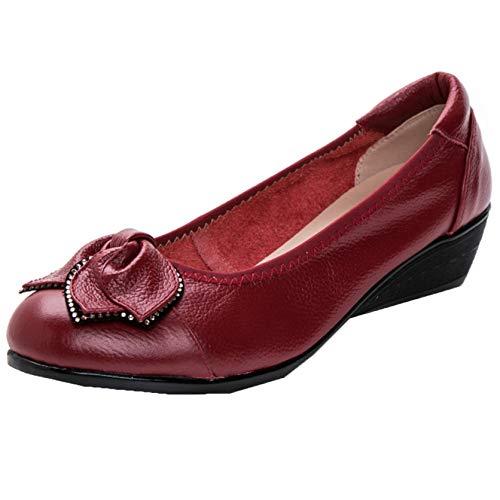Mocasines de Mujer con tacón de cuña bajo Slip-On Rhinestone Punta Redonda Otoño Ligero Low-Top Color sólido Zapatos de Negocios de Oficina Diarios
