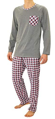 Sesto Senso Herren Schlafanzug Lang Pyjama 100{1d8147c2d8861d1db1dd173d70b0a0a06c2950ca52a86a253e513ffd73c8287b} Baumwolle Langarm Shirt mit Tasche Pyjamahose Zweiteilig Set Nachtwäsche Grau Rot Kariert XXL 04 Bordo