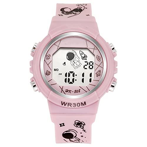 Huaji Reloj electrónico para niños multifunción minimalista reloj digital astronauta patrón correa casual unisex deportes reloj