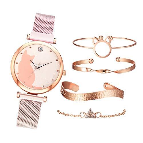 yotijar 5 Piezas Juego de Relojes para Mujer, Juego de Pulsera de Oro Rosa, Relojes de Pulsera con Patrón de Gato - Rosado