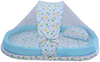 Amardeep and Co Mattress with Mosquito Net and Bumper Guard (Blue) - MT-06-blue
