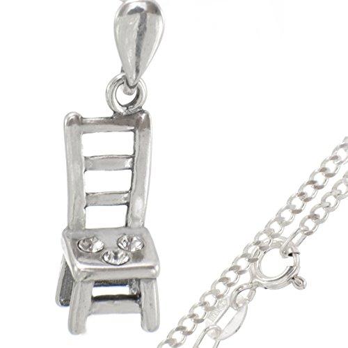 Schmuck-Set:925er Silber Halskette mit Anhänger aus 925er Stuhl Zirkonia #443