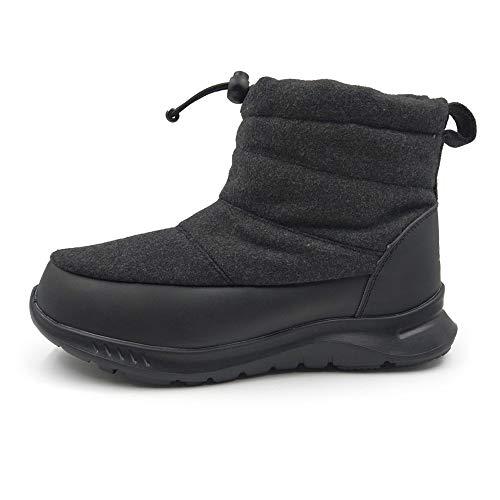 [アモジ]メンズスノーシューズレディーススノーブーツブーツショートブーツ冬用スニーカー秋撥水防寒冬あったかボアモコモコファー暖かいYF802黒ブラック/ブラック29.0cm