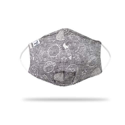 saewelo Mund- und Nasenmaske   100% Baumwolle & Oeko-Tex   waschbar   19 Verschiedene Designs   Schutzmaske für Kinder (7-12)   Weltraum