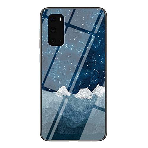 BRAND SET Carcasa para Samsung Galaxy S20 Plus Funda Protectora Transparente con Patrón Tela de Ajedrez Star Luo Cubierta Trasera de Vidrio Templado + Borde de Silicona Case Antigolpes-XLQB