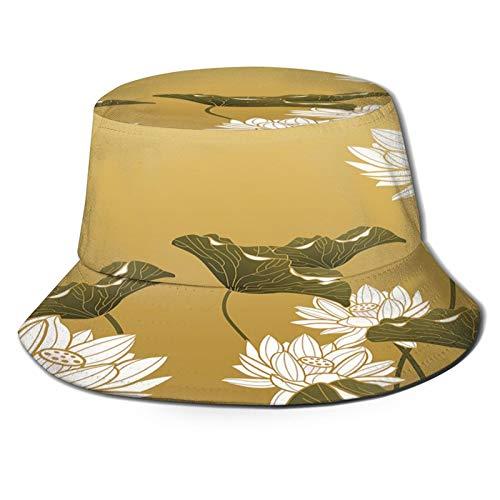 Yoliveya Sombrero de Pesca,Imagen Muestra Pintura de Loto en Estilo Chino El Sello Rojo Significa,Senderismo para Hombres y Mujeres al Aire Libre Sombrero de Cubo Sombrero para el Sol