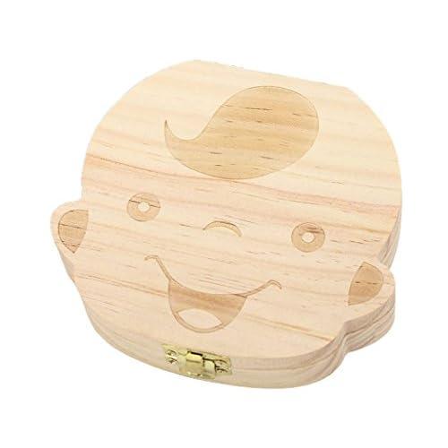 Almondcy Scatola in legno per bambini e bambine con motivo a cartone animato per conservare i denti da latte - Regalo ideale per i ricordi dei bambini (per bambino)