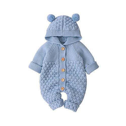 LEXUPE Baby Strampler Jungen Mädchen Schlafanzug Baumwolle Overalls Säugling Spielanzug Baby-Nachtwäsche(Blau,80)