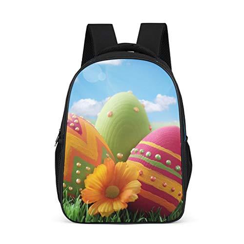 Hinfunees Zaino con uova di Pasqua, design vintage, per libri, per adolescenti, Daypacks, tempo libero, Grigio acceso., Taglia unica